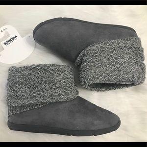 Gray slipper boots